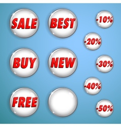 Set of white shiny buttons on sale vector