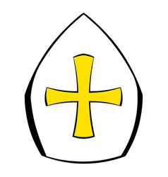Papal tiara hat with cross icon cartoon vector