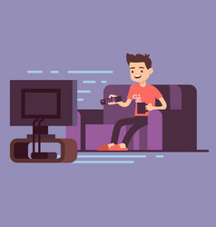 Man watching tv and drinking coffee on sofa in vector