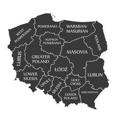 Poland map labelled black in polish language vector