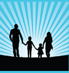 Family with happy children in beauty landscape vector