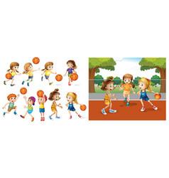 Girls and boys playing basketball vector