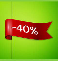 Red ribbon with text forty percent for discount vector