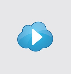 Blue cloud play icon vector