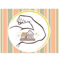 Strong man hand with icon of home goods vector