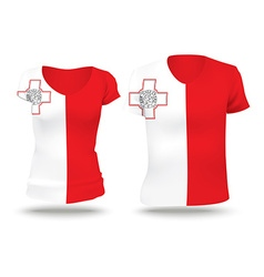 Flag shirt design of malta vector