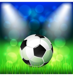 Soccer ball on stadium background vector