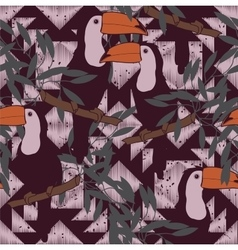 Seamless pattern with toucans and ethnic ornament vector