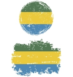Gabonese round and square grunge flags vector
