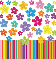 Flowers on colorful stripe background vector