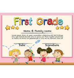 Diploma template for grade one vector