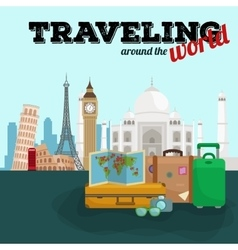 Travel around the world poster Tourism and vector image