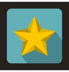 Yellow star icon in flat style vector