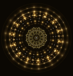 Abstract gold round frame with mandala vector