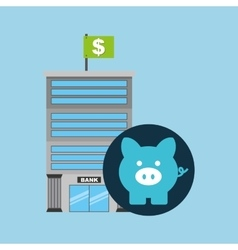 bank building finance piggy icon graphic vector image