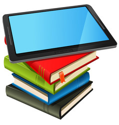 book stack and blue screen tablet pc vector image