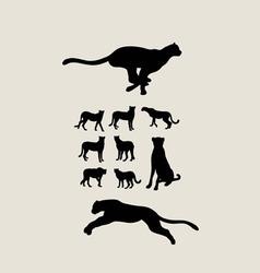 Cheetah set silhouettes vector