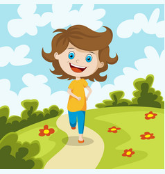 child running through a meadow vector image