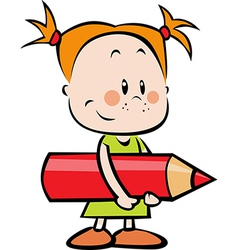 child with pencil - little girl hold red crayon vector image
