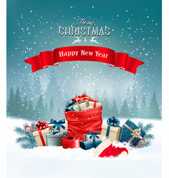 Christmas holiday background with a red sack full vector