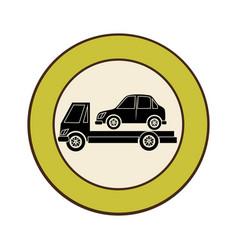 Circular emblem with tow truck vector