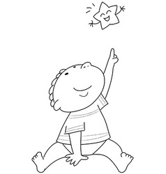 Coloring Child and star coloring vector image