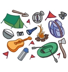 Doodle set of adventure vector image vector image