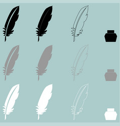 feather and inkwell different icon vector image vector image