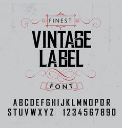 Finest vintage label font poster vector