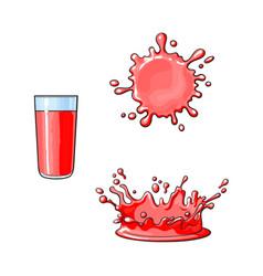 glass cup splash drop of juice set vector image