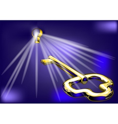 golden key and lock vector image