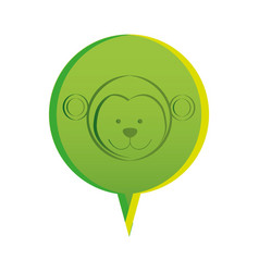 Green round chat bubble with monkey animal inside vector