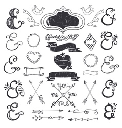 Hand drawing lettering ampersands kit wedding vector