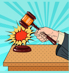 Pop art judge hitting wooden gavel in a courtroom vector