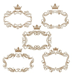 Royal vintage brown borders and frames vector image