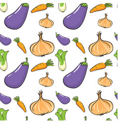 Seamless background with many vegetables vector