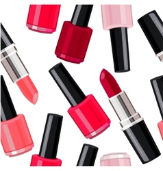 Seamless pattern - lipsticks and nail varnishes vector