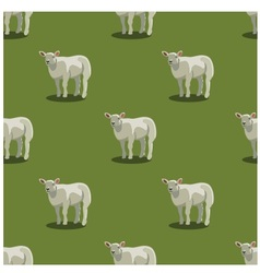 Seamless pattern sheep green vector image
