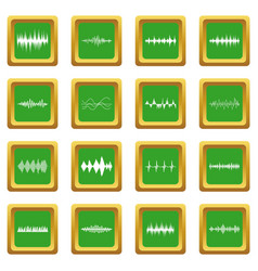 Sound wave icons set green vector