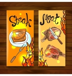 Steak and meat vector