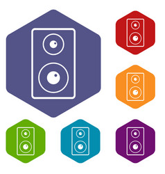 Subwoofer icons set hexagon vector
