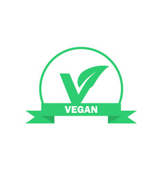 vegan label vegetarian food icon sticker vector image vector image