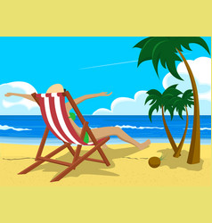 Woman sitting in deck chair on tropical beach vector