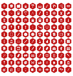 100 paint icons hexagon red vector