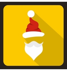 Hat and beard of santa claus icon flat style vector