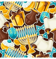 Jewish hanukkah celebration seamless pattern with vector