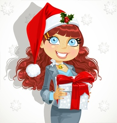 Christmas office lady vector