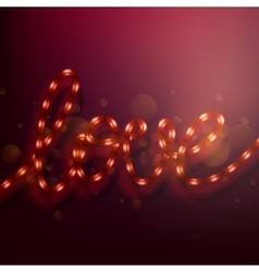LOVE lighted up in red neon colors EPS 10 vector image