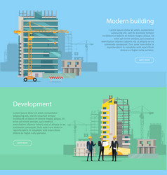 Modern building development collection of icons vector
