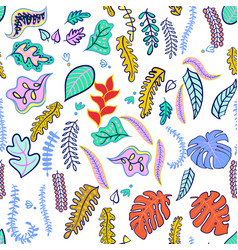 set of tropical leaf fashionable colors vector image